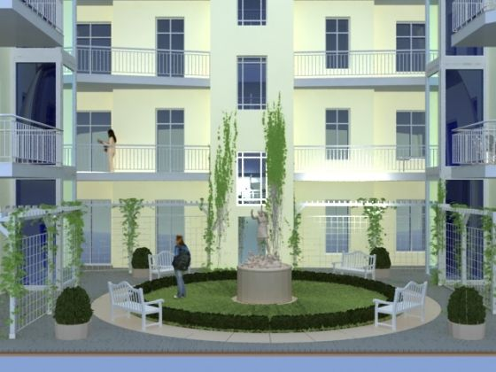 Ein klassizistisch gestalteter begrünter Innenhof sorgt für Ruhe und Entspannung